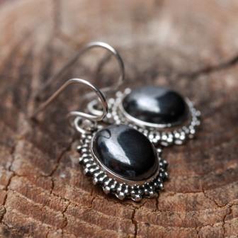 Boucles d'oreilles pierre Hématite