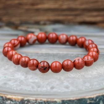 Bracelet pierre jaspe rouge
