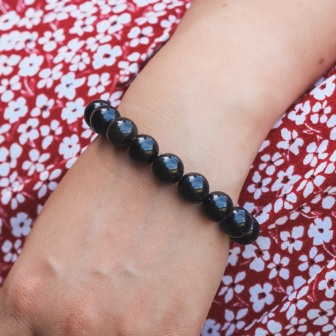 Bracelet Pierre Obsidienne Dorée